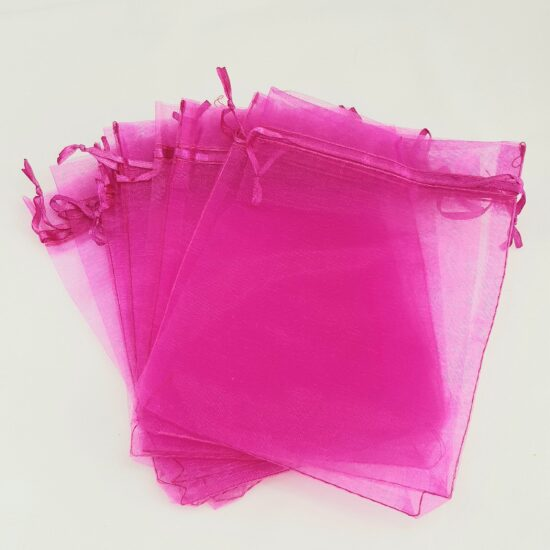 25 Organza Bags 5×7 inches Pink