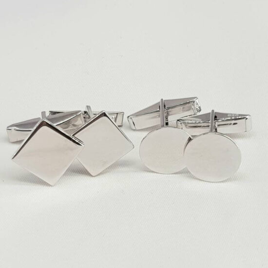 Cufflinks Findings Blanks Sterling Silver Rhodium Plated